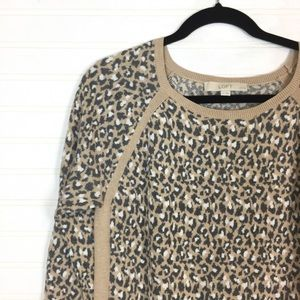 LOFT Long Sleeve Animal Print Leopard Sweater sz L